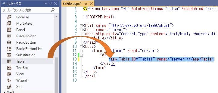 画像:Visual StudioのツールボックスからTableコンポーネントの画面説明